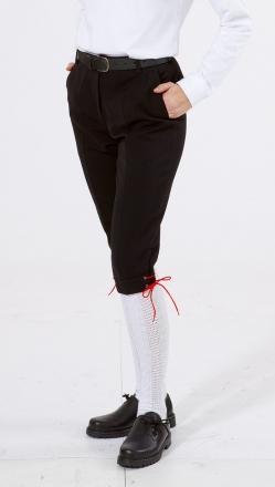 Damen-Kniebundhose schwarz aus  Gewebe / Stoff, mit schwarzer Kordel