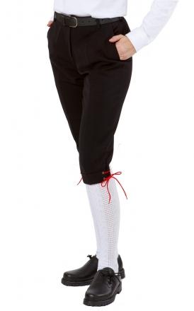 Kinder-Kniebundhose schwarz aus  Gewebe / Stoff, mit schwarzer Kordel