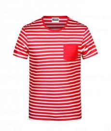 Hemdglunker Ringel-T-Shirt HERREN, rot-weiss gestreift