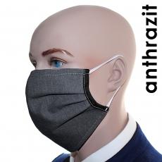 3er Pack Pro13grau Mund-Nasen-Masken, Grau/Schwarz, Baumwoll-Variante