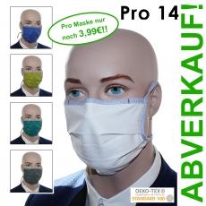 Pro14 / 10er Pack, Baumwoll-Variante mit kontrastfarbener Schnürung - Mund-Nasen-Masken