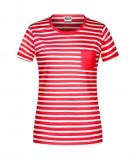 Hemdglunker Ringel-T-Shirt DAMEN, rot-weiss gestreift